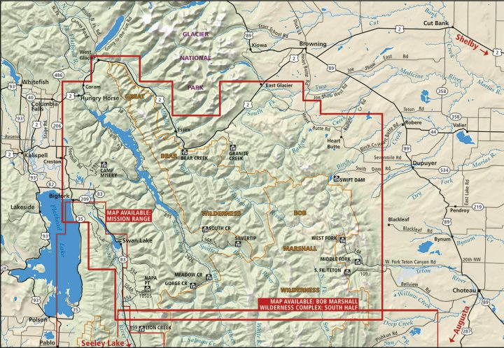 Bob Marshall Wilderness Complex Map Coverage