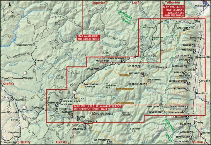 Selway-Bitterroot Wilderness Map: North Half Coverage