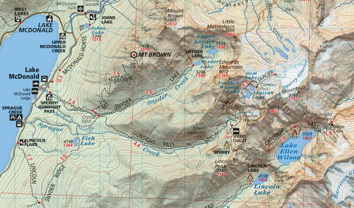 Glacier and Waterton Lakes National Parks Map Sample