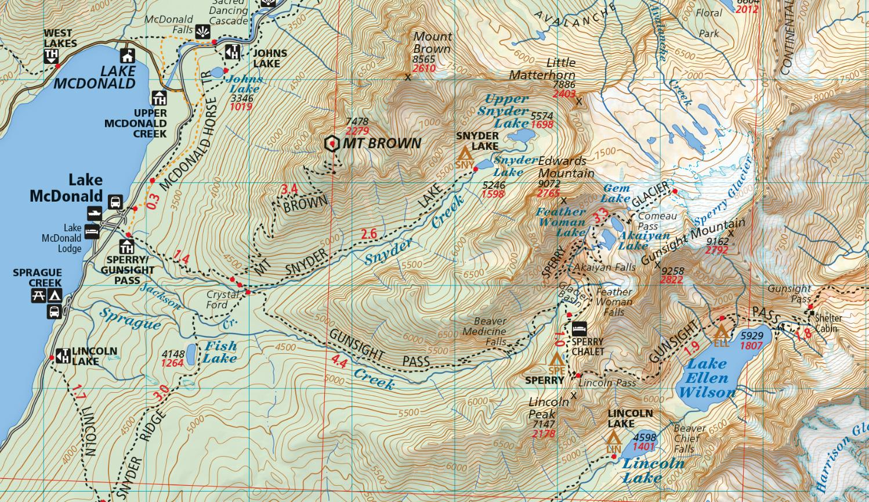 glacier and waterton lakes map sample . glacier national park map