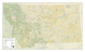 Public Lands Of Montana Wall Map