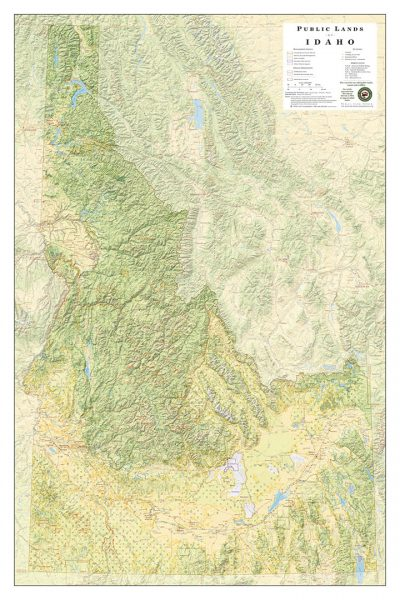 Public Lands of Idaho Wall Map